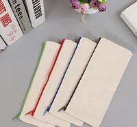 Wholesale office mobile - Blank Canvas Zipper Pencil Cases Pen Pouches Cotton Cosmetic Bags Makeup Bags Mobile Phone Clutch Bag Organizer GGA592 100pcs