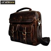 """Wholesale Briefcase Portfolio Woman - Le'aokuu Men Real Leather Antique Style Coffee Briefcase Business 13"""" Laptop Cases Attache Messenger Bags Portfolio B207"""