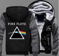 sudaderas de música rock al por mayor-2018 Pink Floyd chaqueta impresa para hombre con cremallera sudaderas con capucha Fleece Thicken Rock Music Fans chaqueta sudadera abrigo