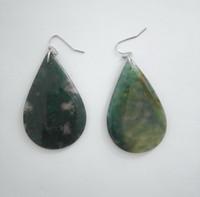 achat stein ohrringe großhandel-Moos Achat Stein Ohrringe Tropfen Oval S Form Halbedelsteine Fisch Ohrringe Für Frauen und Mädchen Geschenk