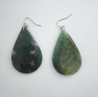 Wholesale s shaped earrings resale online - Moss Agate Stone Earrings Drop Oval S Shape Semi Precious Natural Stones Fish Earrings For Women and Girls Gift
