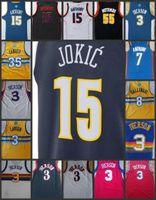b671a2ed4 Denver Nuggets Hombres Jersey   3 Allen Iverson 55 Dikembe Mutombo 15  Nikola Jokic 15 Carmelo Anthony cosiendo camisetas