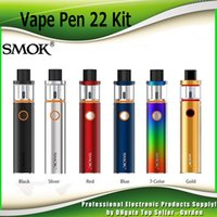 Wholesale Caps Designs - Original Smok Vape Pen 22 Starter Kit All-in-one With 1650mah Battery Top-cap filling Design 22mm Diameter 100% genuine SmokTech 2218047