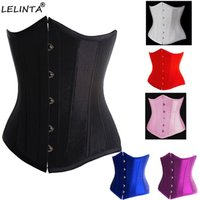 Wholesale sexy lingerie black dress - Black Satin Boned Waist Trainer Corsets And Bustiers Cincher Steampunk Wedding Dress Underwear Sexy Lingerie For Women