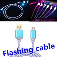 blinkende led-telefon-ladegerät großhandel-Flüssiges LED sichtbares blinkendes USB-Ladegerät-Kabel-bunte helle Schnur führen für Samsung S7 S6 ANMERKUNG 5 intelligente Telefone