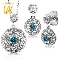 bracelet en diamant topaze achat en gros de-GemStoneKing Ensemble de boucles d'oreilles pendentif plaqué rhodium naturel