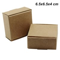 Wholesale package cookies for gifts online - 6 x6 x4 cm Brown Kraft Paper Crafts Packaging Boxes for Jewelry Accessories DIY Soap Craft Paper Cookies Food Storage Pack Boxes