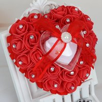 Wholesale cushions for rings for sale - Heart Shape Ring Pillow Cushion With Rose Flowers Bowknot Ribbons Rhinetone Pearls Gift Ring Box For decoration Bridal Wedding Party Favor