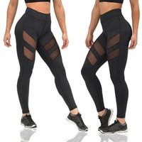 ingrosso pantalone yoga all'ingrosso-Commercio all'ingrosso 2018 marchio logo crop yoga palestra pantaloni elastici maglia ritagliata pantaloni donna sport fitness leggings collant abbigliamento sportivo pantaloni yoga