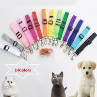 Wholesale seat pets belt - Dog Seat Belts For Cars Adjustable Stretch Pet Seat Belt For Dog With Safe Hook Garden Outdoor Leashes HH7-1178