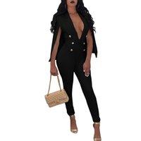 akşam rompers toptan satış-YENI Pelerin Pantolon Tulum Bayan Tulum V Boyun Düğmeler Kıyafetler Akşam Parti Tulum Tam Bodysuit Bodycon Seksi Tulumlar