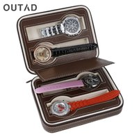 Wholesale Zipper Watch - OUTAD Durable Perfect 4 8 Slots Leather Jewelry Watch Collection Bag Storage Organizer With Zipper Portable Accessory For Travel