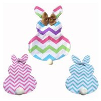 Wholesale Festival Gardens - Easter Bunny Garden Flag Canvas Chevron Easter Flags Striped Rabbit Hanging Flag Garden Festival Decoration CCA8803 100pcs