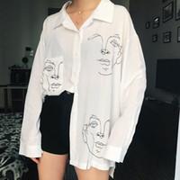 damen baumwollhemden voller ärmel großhandel-Neue 2018 Neue Sommer Bluse Shirt Weibliche Baumwolle Gesicht Druck Volle Hülse Lange Shirts Frauen Tops Damen Kleidung