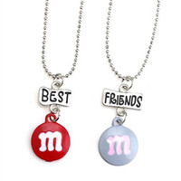 Wholesale American Marble - 12pair lot best friends necklace silver tone beautiful blue and orange marble chocolate M charm BFF pendant necklace Children's day gift