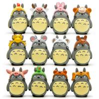 figura del zodiaco al por mayor-Mi Vecino Totoro Zodiac Set 12pcs Lindo 4cm Mini Muñecas Japanese Anime PVC Figura de Acción Regalo de los niños