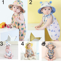 Wholesale pineapple clothes - baby clothing summer baby girl kids climbing romper Sets sleeveless Pineapple print romper + headband girl kid summer rompers 0-2T