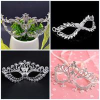 masquerade diamond großhandel-Alloy handgemachte Maskerade ausgehöhlt Halloween Geschenk Maske Kristall Diamanten Masken Sexy Metall Eyemask Hochzeit Frauen 26hc jj