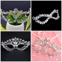 Wholesale sexy crystal masks for sale - Group buy Alloy Handmade Masquerade Hollowed Out Halloween Gift Mask Crystal Diamonds Masks Sexy Metal Eyemask Wedding Women hc jj