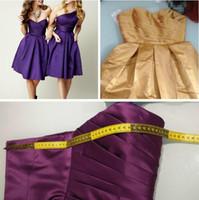 Wholesale Knee Length Corsets - Cheap Simple Dark Purple One Shoulder Short Bridesmaid Dress Satin Corset Knee Length A-line Zipper Elegant Wedding Party Dresses Gown