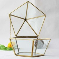 Wholesale indoor plant decor - 15*17CM Miniature Glass Terrarium Geometric Diamond Desktop Garden Planter Succulent Plants Glass House Indoor Gardening Home Decor WX9-675