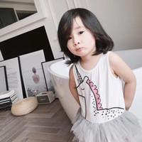 model çizgi film elbiseleri toptan satış-Yaz Modelleri Pamuk Sevimli Karikatür Unicorn Beyaz Kolsuz Casual Yelek Örgü Ipliği Çocuk Kız Elbise