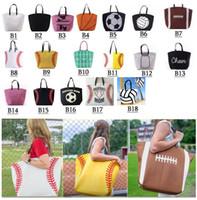 Wholesale cartoon baseballs - 18 styles Canvas Bag Baseball Tote Sports Bags Fashion Softball Bag Football Soccer Basketball Cotton Canvas Tote Bag GGA189 20pcs