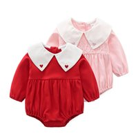 Wholesale newborn size clothing online - Newborn Baby girl clothing romper round collar long sleeve girl romper spring fall cotton baby girl clothing