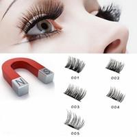 Wholesale natural eyelash glue - 5 style Magnetic Eyelashes 3D Mink Reusable False Magnet Eye Lashes makeup Extension No Glue EEA119