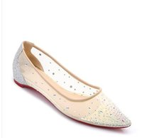 Wholesale b tips - Lace gauze tip shallow mouth rhinestones flat bottom shoes female summer 2018 new Korean version of the breathable wild sequins with high he