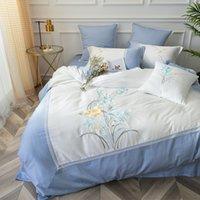 ingrosso copertura bianca blu del duvet-bianco / Azzurro Orchidea di lusso Ricamo Egitto Cotone Confortevole copripiumino Copripiumino Federa Queen King size