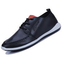 Wholesale Boys Korean Shoes - 2018 British style men's shoes casual business work men's shoes Korean youth breathable non-slip solid color trend boys shoes