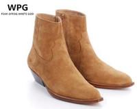 botas de cuero marrón al por mayor-WPG Europe Últimos estilos Botines Martin de cuero para hombre Botines Chelsea de alta calidad negros, zapatos de hombre de invierno marrón botas para hombre