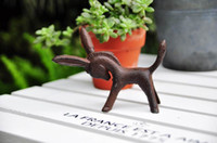 ingrosso ornamenti di giardino antico-4 Pezzi Cast Iron Donkey / Mule Figurine Rustic Brown Metal Statue Animal Paper Peso Home Garden Yard Decorazioni Ornamenti Antique Retro