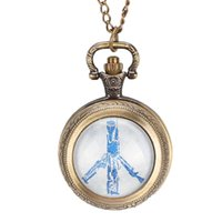 antike bronze halskettenentwürfe großhandel-Friedenstaube Thema Design Uhren Antike Bronze Glaskuppel Anhänger Taschenuhr Kette Halskette für Männer Frauen
