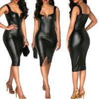 Wholesale vegan leather resale online - Vegan Leather Sleeveless Dress Lady Cocktail Party Dresses Mini Sexy black Evening Corset Dress Mini Woman Leather Dress