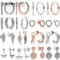 925 hängenden charme großhandel-FAHMI 100% 925 Sterling Silber Charm ROSE FOREVER STUDS Rose Radiant Hängende Pandora Ohrringe ROSE ENTWINED HOOPS DROPLETS OHRRING FOREVER