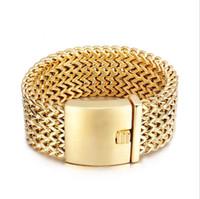 mesh gold armreif großhandel-30mm breite männer mode marke armband schmuck gold jungen 316l titanium edelstahl biker mesh armbänder beste freunde männer armreif