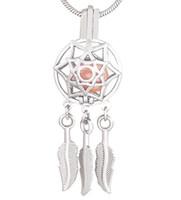 encantos de plata india al por mayor-Silver Dream Catcher Indian Style Jaula de perlas colgante 5pcs Charms Locket DIY joyería haciendo jaulas montaje colgante nuevo CP035