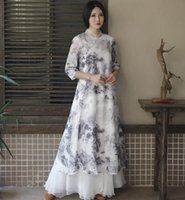 Wholesale ancient chinese painting resale online - Ancient China women s black White Retro Chinese style ink painting cheongsam dress Unique clothing female Zen tea Bar in summer