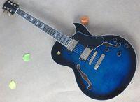 Wholesale custom veneer - 2018 New Custom Semi-hollow Blue Electric Guitar with Flame Maple Veneer,Gold Hardwares,Rosewood Fretboard,Offer Customized