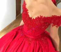 sexy red off schultern prom kleid großhandel-2019 Modest Off Shoulder Red Ballkleid Prom Kleider Appliques Perlen Satin Korsett Lace Up Abendkleider Custom Sweet 16 Kleider