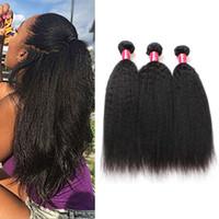 cabelo afro kinky tece venda por atacado-Brasileira Kinky Em Linha Reta Cabelo Humano Weave Bundles 8A Não Transformados Peruano Malaio Indiano Italiano Grosso Afro Yaki Extensões de Cabelo Em Linha Reta