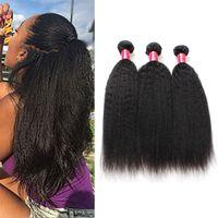 yaki haare webt großhandel-Brasilianische verworrene gerade Menschenhaar-Webart-Bündel 8A Unverarbeitete peruanische malaysische indische italienische grobe Afro Yaki gerade Haar-Erweiterungen