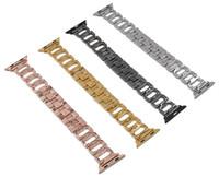 boutons en forme de pomme achat en gros de-Forme de la lettre D Lettre Iwatch Sangle en acier inoxydable pour IWATCH Crystal Diamond D Bracelet en métal bouton
