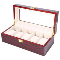 Wholesale Wood Lacquered Box - High Quality Watch Boxes 5 Grids Wooden Watch Display Piano Lacquer Jewelry Storage Organizer Jewelry Collections Case Gifts