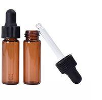 nuevas botellas de ámbar al por mayor-Nueva botella de gotero de vidrio rojo-ámbar de Arriveal 4 ml Botella de aceite esencial de calidad superior Frascos de exhibición de suero pequeño Botella de prueba de muestra de perfume