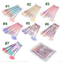 glitzer make-up-kits großhandel-7pcs professinal Crystal Glitter Treibsand Diamant Make-up Pinsel Set mit klaren Make-up Tasche Werkzeuge 7 Farben auf Lager Dhl-freies Verschiffen