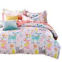 Wholesale king doona covers - Wholesale-Svetanya Doona Duvet Cover+Pillowcases Deer Cartoon Kids Adults Bedding Sets Twin Full Queen King Size 100% Cotton