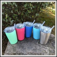 Wholesale Lid Straw - 5 Colors 12oz Kid Milk Cup Vacuum Insulated Beer Mugs Stainless Steel Wine Glass Coffee Mugs With Lid With Straw CCA9457 500pcs